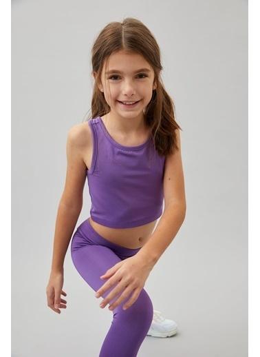 Defacto –Fit Kız Çocuk Slim Fit Yazı Baskılı Crop Atlet Mor